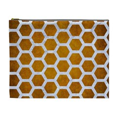 Hexagon2 White Marble & Yellow Grunge Cosmetic Bag (xl) by trendistuff