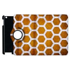 Hexagon2 White Marble & Yellow Grunge Apple Ipad 2 Flip 360 Case by trendistuff