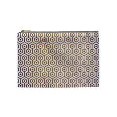 Hexagon1 White Marble & Yellow Grunge (r) Cosmetic Bag (medium)  by trendistuff