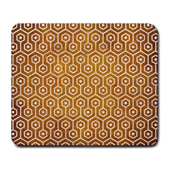 Hexagon1 White Marble & Yellow Grunge Large Mousepads by trendistuff