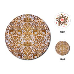 Damask2 White Marble & Yellow Grunge (r) Playing Cards (round)  by trendistuff