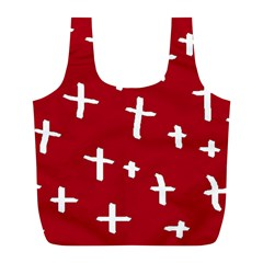Red White Cross Full Print Recycle Bags (l)  by snowwhitegirl