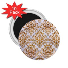 Damask1 White Marble & Yellow Grunge (r) 2 25  Magnets (10 Pack)  by trendistuff