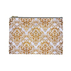 Damask1 White Marble & Yellow Grunge (r) Cosmetic Bag (large)  by trendistuff