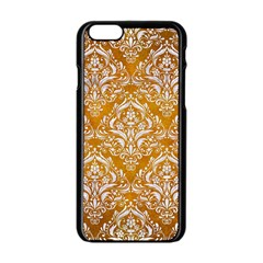 Damask1 White Marble & Yellow Grunge Apple Iphone 6/6s Black Enamel Case by trendistuff