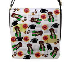 Office Girl Pattern Flap Messenger Bag (l)  by snowwhitegirl