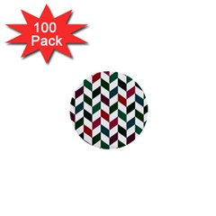 Zigzag Chevron Pattern Green Red 1  Mini Buttons (100 Pack)  by snowwhitegirl