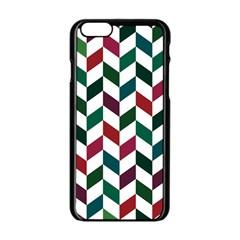 Zigzag Chevron Pattern Green Red Apple Iphone 6/6s Black Enamel Case by snowwhitegirl