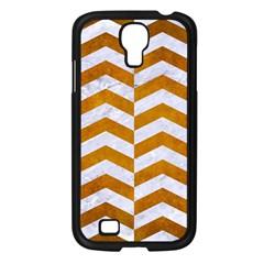 Chevron2 White Marble & Yellow Grunge Samsung Galaxy S4 I9500/ I9505 Case (black) by trendistuff