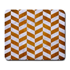Chevron1 White Marble & Yellow Grunge Large Mousepads by trendistuff