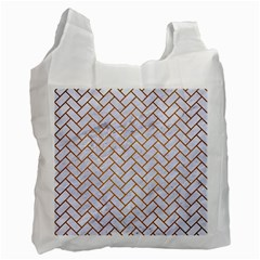 Brick2 White Marble & Yellow Grunge (r) Recycle Bag (two Side)  by trendistuff