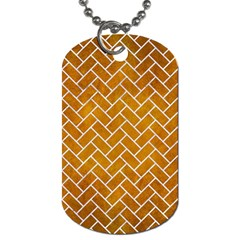 Brick2 White Marble & Yellow Grunge Dog Tag (one Side) by trendistuff