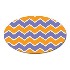 Zigzag Chevron Pattern Blue Orange Oval Magnet by snowwhitegirl