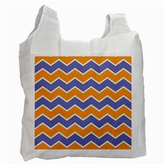 Zigzag Chevron Pattern Blue Orange Recycle Bag (one Side) by snowwhitegirl