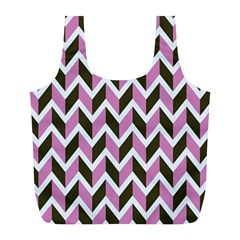 Zigzag Chevron Pattern Pink Brown Full Print Recycle Bags (l)  by snowwhitegirl