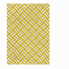 Woven2 White Marble & Yellow Denim Large Garden Flag (two Sides) by trendistuff