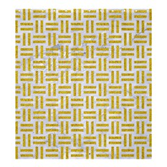 Woven1 White Marble & Yellow Denim (r) Shower Curtain 66  X 72  (large)  by trendistuff