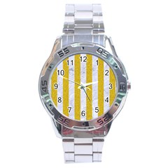 Stripes1 White Marble & Yellow Denim Stainless Steel Analogue Watch by trendistuff