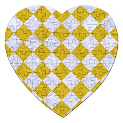 Square2 White Marble & Yellow Denim Jigsaw Puzzle (heart) by trendistuff