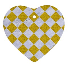 Square2 White Marble & Yellow Denim Heart Ornament (two Sides) by trendistuff