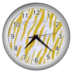 Skin3 White Marble & Yellow Denim (r) Wall Clocks (silver)  by trendistuff