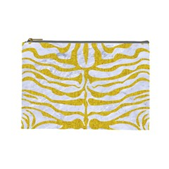 Skin2 White Marble & Yellow Denim (r) Cosmetic Bag (large)  by trendistuff