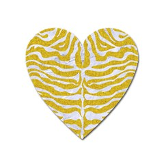 Skin2 White Marble & Yellow Denim Heart Magnet by trendistuff