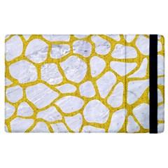 Skin1 White Marble & Yellow Denim Apple Ipad 2 Flip Case by trendistuff