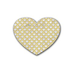 Scales2 White Marble & Yellow Denim (r) Heart Coaster (4 Pack)  by trendistuff