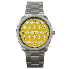 Royal1 White Marble & Yellow Denim (r) Sport Metal Watch by trendistuff