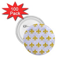 Royal1 White Marble & Yellow Denim 1 75  Buttons (100 Pack)  by trendistuff