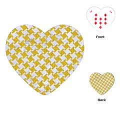 Houndstooth2 White Marble & Yellow Denim Playing Cards (heart)  by trendistuff