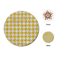 Houndstooth1 White Marble & Yellow Denim Playing Cards (round)  by trendistuff