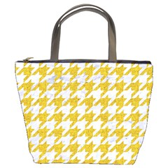 Houndstooth1 White Marble & Yellow Denim Bucket Bags by trendistuff