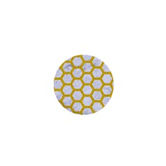 Hexagon2 White Marble & Yellow Denim (r) 1  Mini Magnets by trendistuff