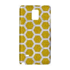 Hexagon2 White Marble & Yellow Denim Samsung Galaxy Note 4 Hardshell Case by trendistuff