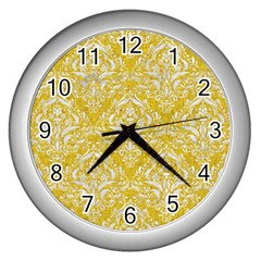 Damask1 White Marble & Yellow Denim Wall Clocks (silver)  by trendistuff
