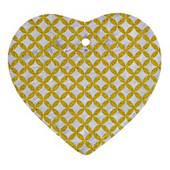 Circles3 White Marble & Yellow Denim (r) Heart Ornament (two Sides) by trendistuff