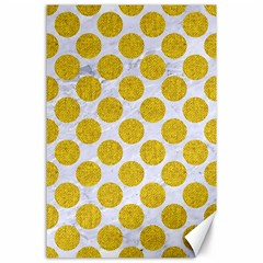 Circles2 White Marble & Yellow Denim (r) Canvas 24  X 36  by trendistuff