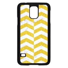 Chevron2 White Marble & Yellow Denim Samsung Galaxy S5 Case (black) by trendistuff