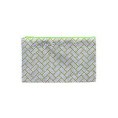 Brick2 White Marble & Yellow Denim (r) Cosmetic Bag (xs) by trendistuff