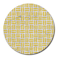 Woven1 White Marble & Yellow Colored Pencil (r) Round Mousepads by trendistuff
