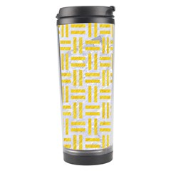 Woven1 White Marble & Yellow Colored Pencil (r) Travel Tumbler by trendistuff