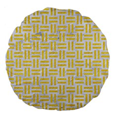 Woven1 White Marble & Yellow Colored Pencil (r) Large 18  Premium Flano Round Cushions by trendistuff
