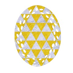 Triangle3 White Marble & Yellow Colored Pencil Oval Filigree Ornament (two Sides) by trendistuff