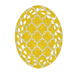 Tile1 White Marble & Yellow Colored Pencil Oval Filigree Ornament (two Sides) by trendistuff