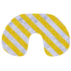 Stripes3 White Marble & Yellow Colored Pencil Travel Neck Pillows by trendistuff
