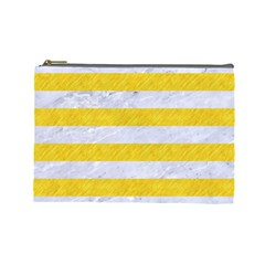 Stripes2white Marble & Yellow Colored Pencil Cosmetic Bag (large)  by trendistuff