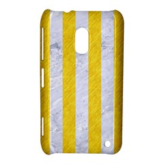 Stripes1 White Marble & Yellow Colored Pencil Nokia Lumia 620 by trendistuff