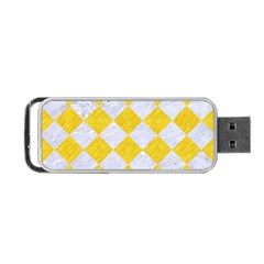 Square2 White Marble & Yellow Colored Pencil Portable Usb Flash (one Side) by trendistuff